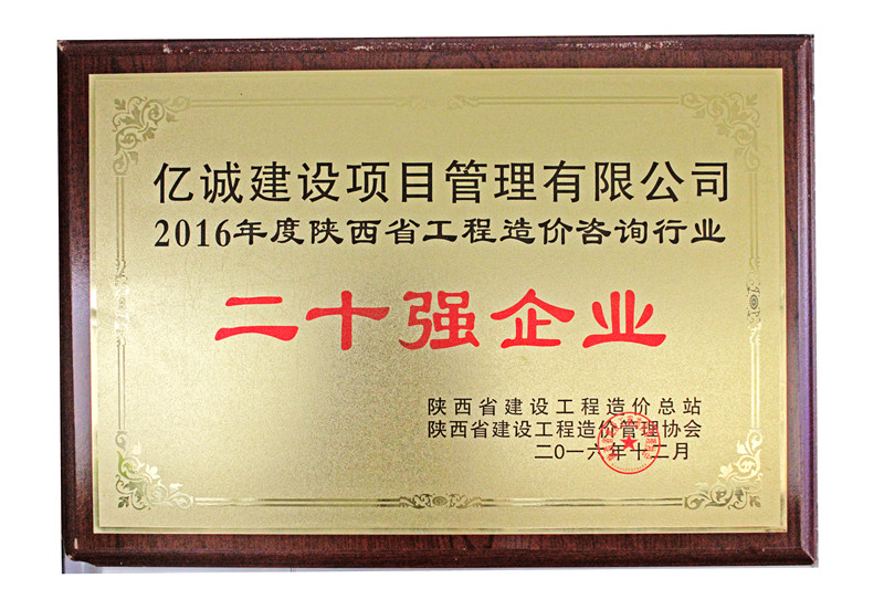 陕西省2016工程造价咨询二十强企业